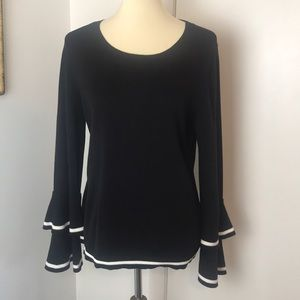CeCe Black Sweater with Bell Sleeves Large
